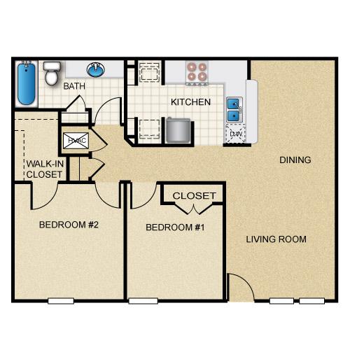 927 sq. ft. floor plan