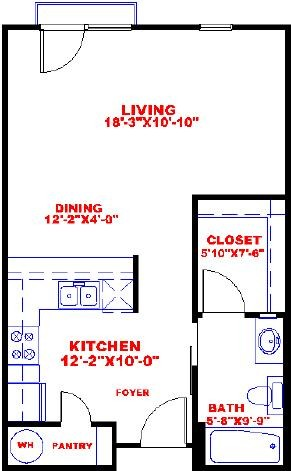 556 sq. ft. to 757 sq. ft. S1A floor plan