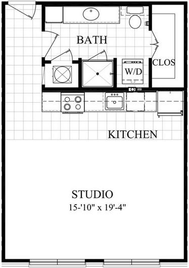560 sq. ft. AE floor plan