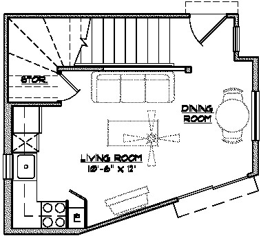 586 sq. ft. THC floor plan