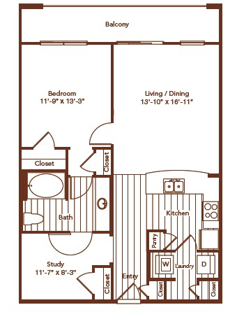 901 sq. ft. floor plan