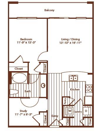 901 sq. ft. floor plan
