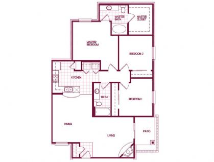 1,370 sq. ft. Oak floor plan