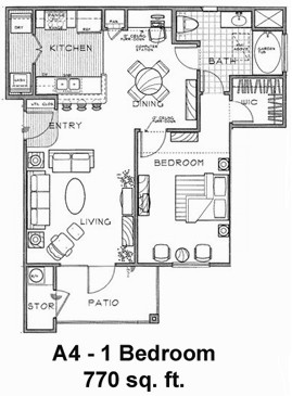 770 sq. ft. A4/60% floor plan
