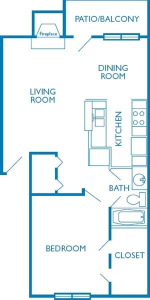 703 sq. ft. La Quinta floor plan