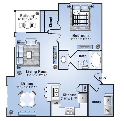 738 sq. ft. Santa Fe floor plan