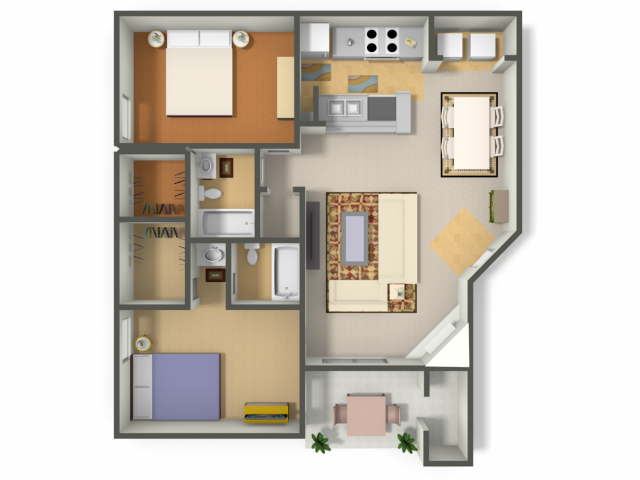 1,050 sq. ft. Two Bedroom/Two Bath  (B2) floor plan