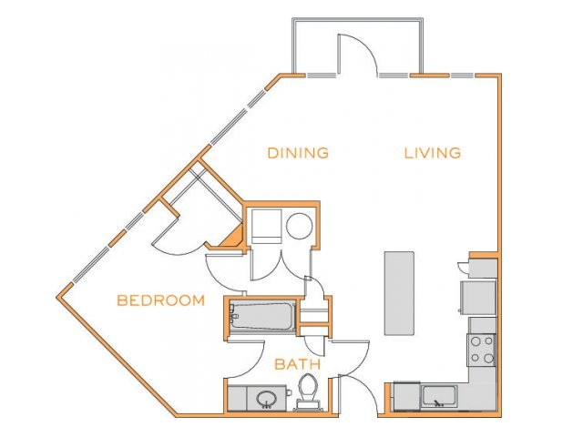 710 sq. ft. Birch 1 floor plan