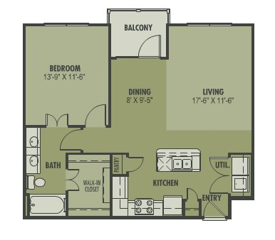 812 sq. ft. Amor floor plan