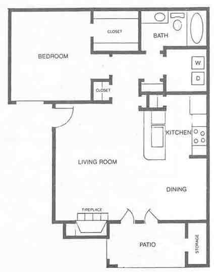 668 sq. ft. A3 floor plan