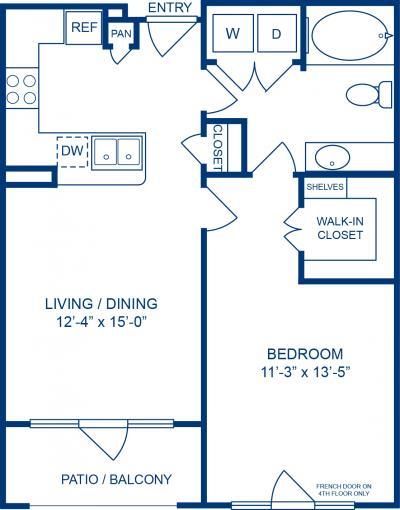 690 sq. ft. BATON ROUGE floor plan