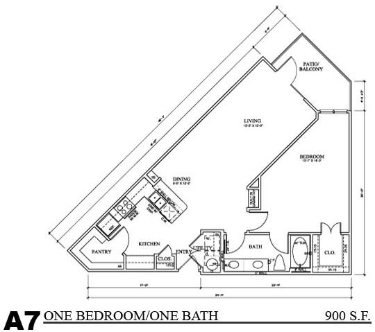 900 sq. ft. A7E floor plan