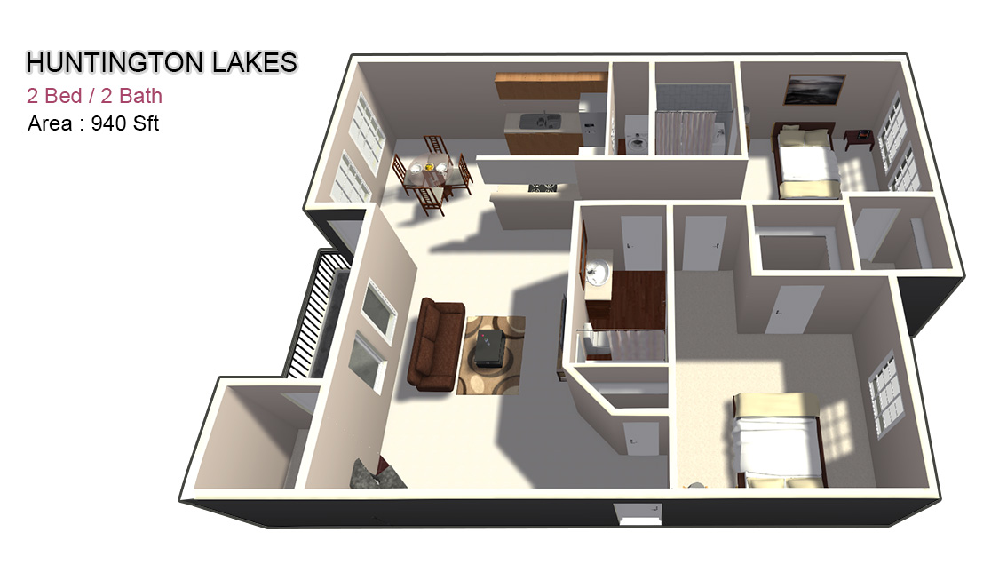 940 sq. ft. 2X2 floor plan