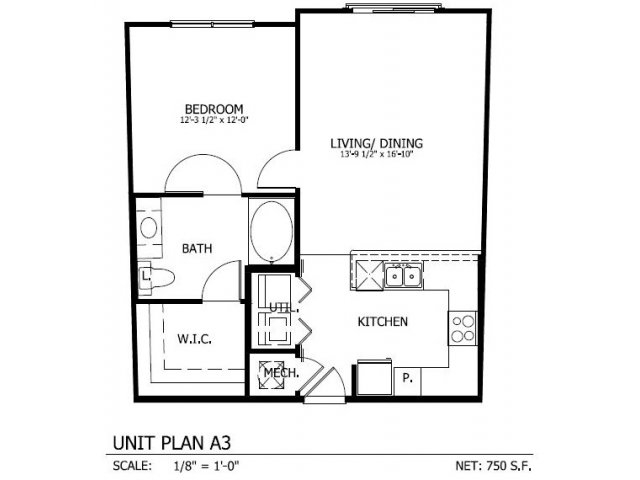 736 sq. ft. to 793 sq. ft. A.3 floor plan