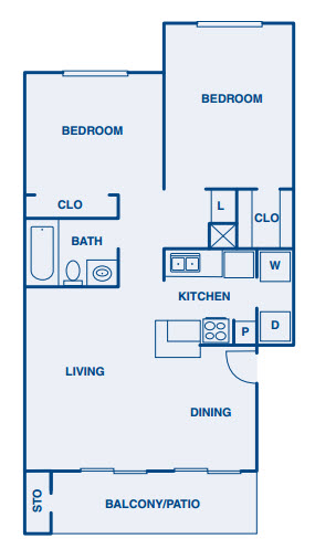 860 sq. ft. B floor plan