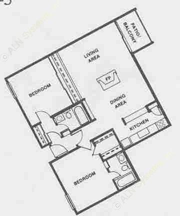 983 sq. ft. B3/B3F floor plan