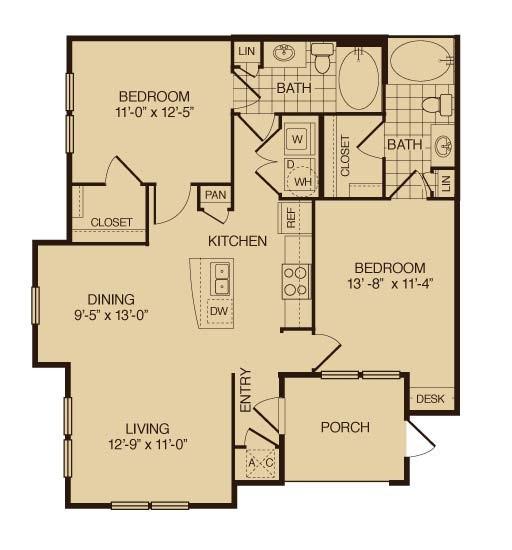 1,053 sq. ft. Live Oak floor plan