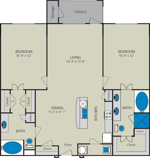 1,257 sq. ft. Trinity B4 floor plan
