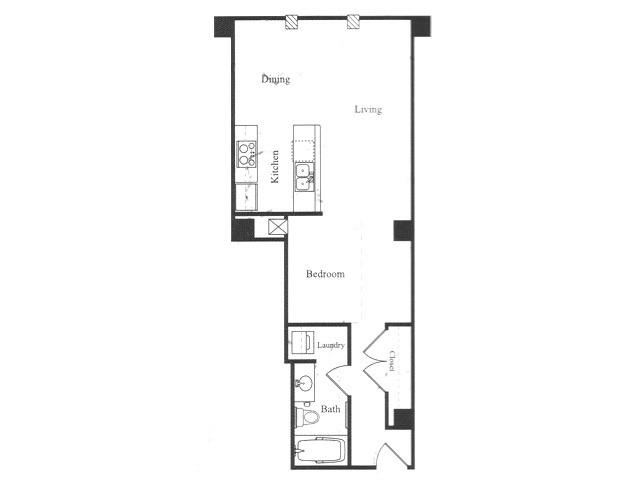 589 sq. ft. B floor plan