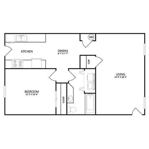 665 sq. ft. A4 floor plan
