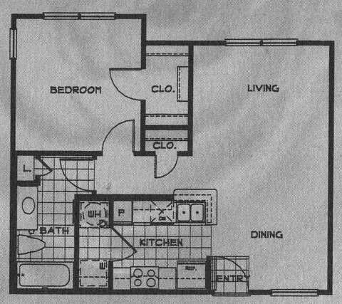 664 sq. ft. 60% floor plan