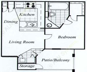 700 sq. ft. Elm/60 floor plan