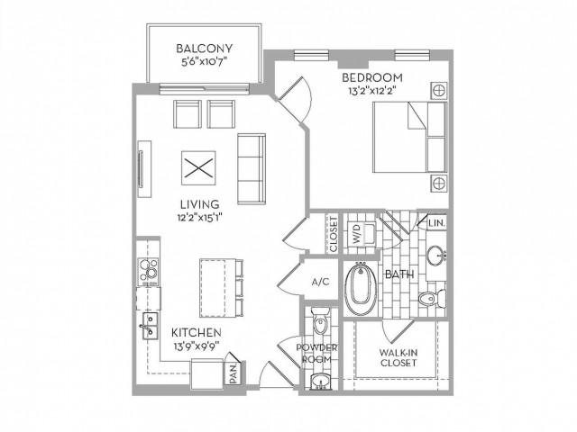 867 sq. ft. Royal(A.14) floor plan