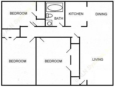 962 sq. ft. floor plan