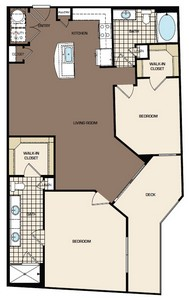 1,195 sq. ft. C2-alt1 floor plan