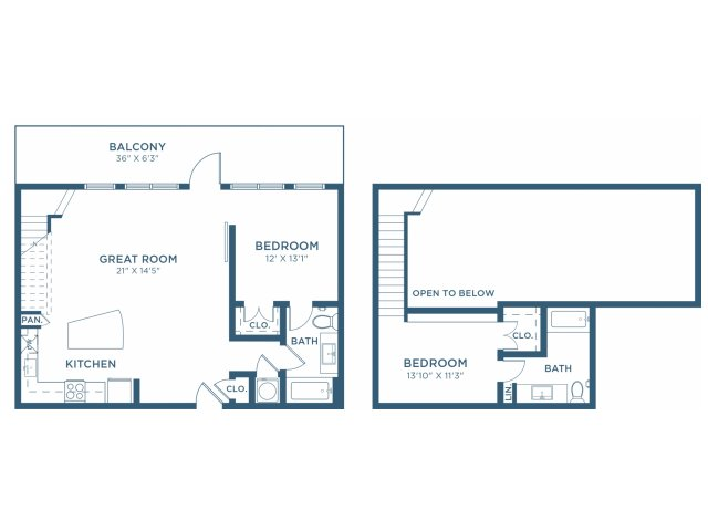 1,150 sq. ft. B12L floor plan