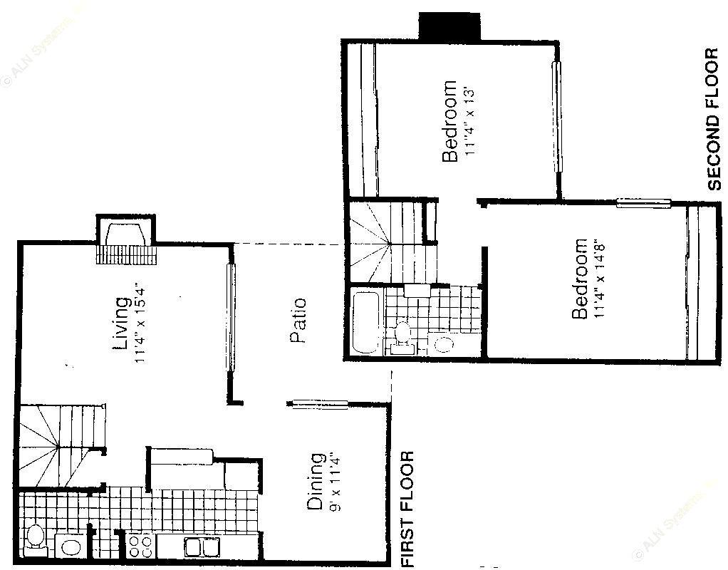 1,092 sq. ft. B4-S1 floor plan