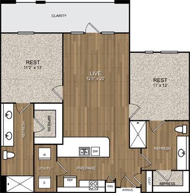 1,058 sq. ft. B2 floor plan