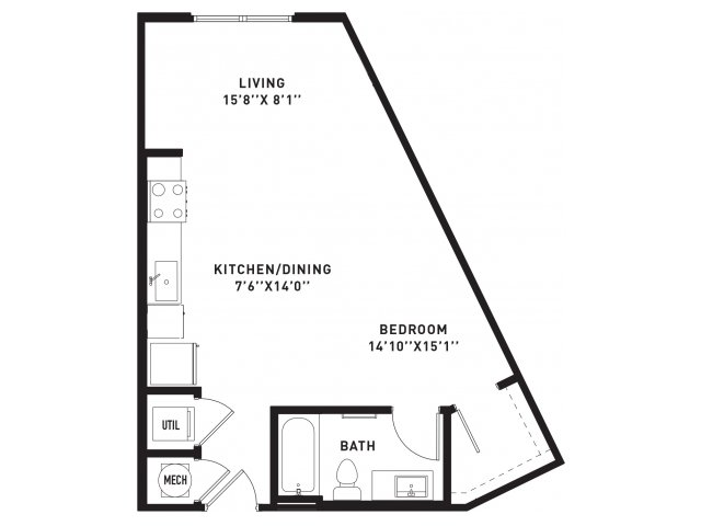 560 sq. ft. E5 floor plan