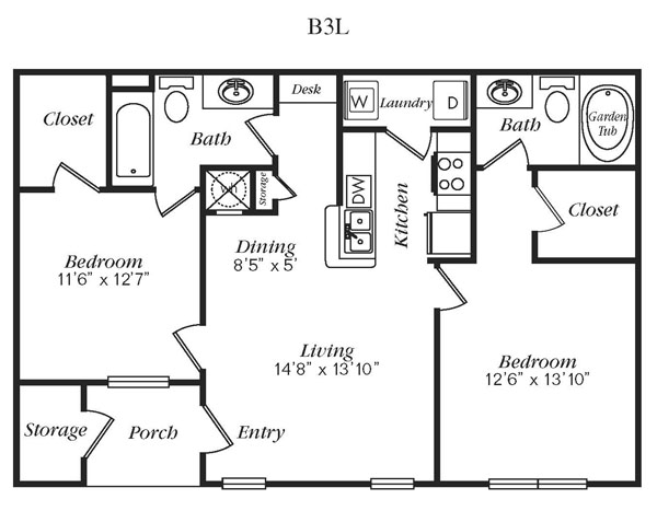 985 sq. ft. B3L floor plan