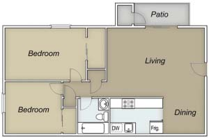 894 sq. ft. B/Aruba floor plan