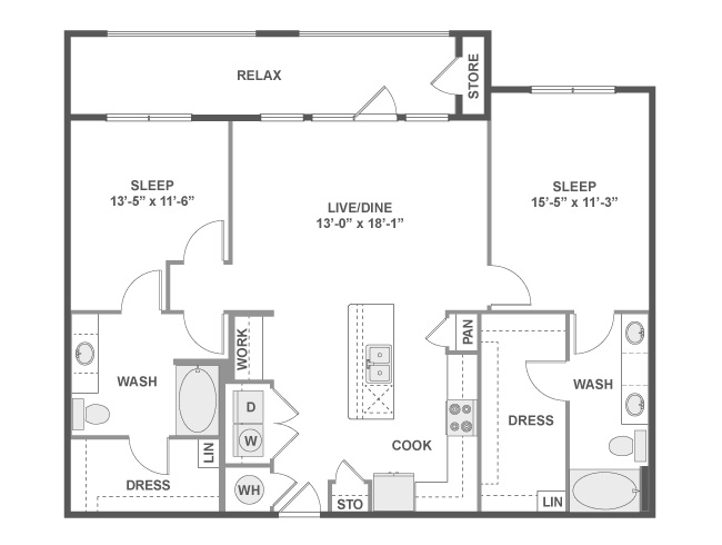 1,221 sq. ft. C6a floor plan