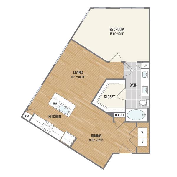 896 sq. ft. A5 floor plan