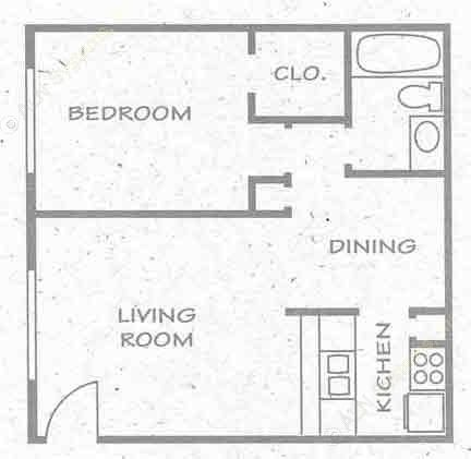 558 sq. ft. A5 PH I floor plan