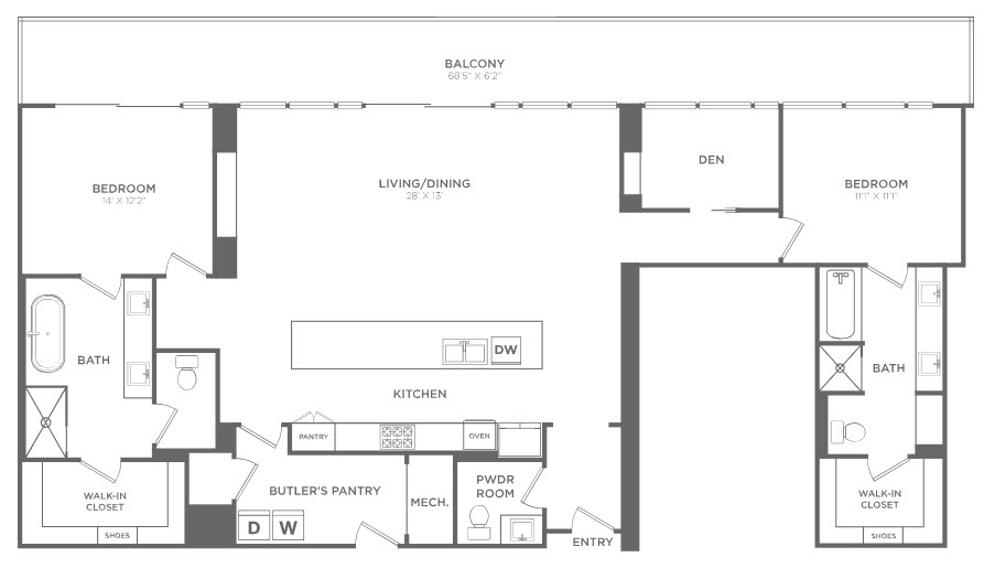 1,905 sq. ft. PH1 floor plan
