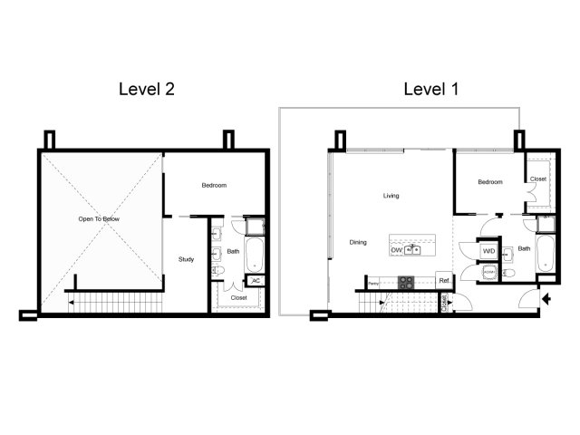 1,439 sq. ft. Loft 2B floor plan