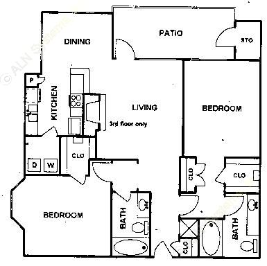 1,136 sq. ft. Nicolet floor plan