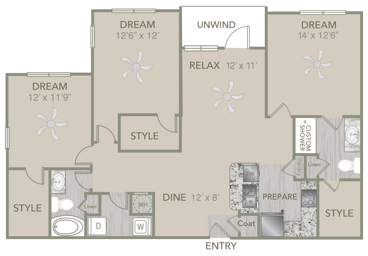 1,368 sq. ft. C3 floor plan