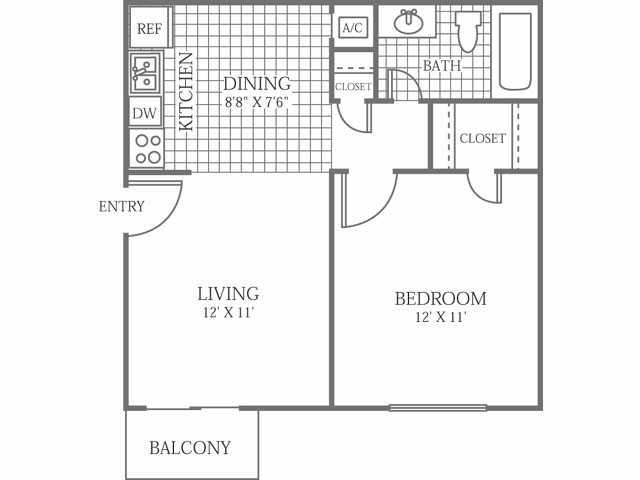 518 sq. ft. A floor plan
