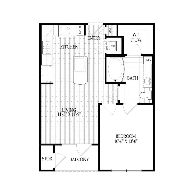 609 sq. ft. A1 Bellini floor plan
