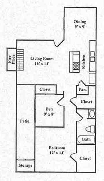 927 sq. ft. B floor plan