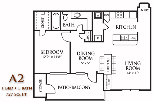 727 sq. ft. A2 floor plan