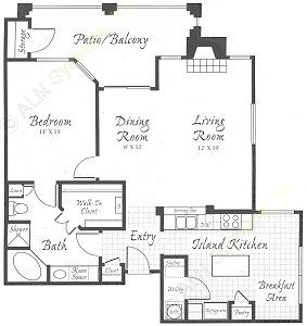 1,116 sq. ft. A1-A floor plan