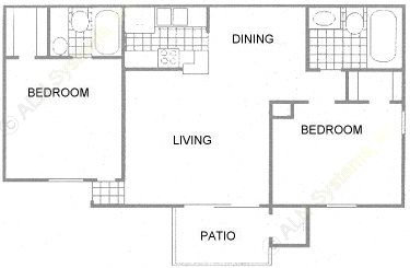 943 sq. ft. C1 floor plan