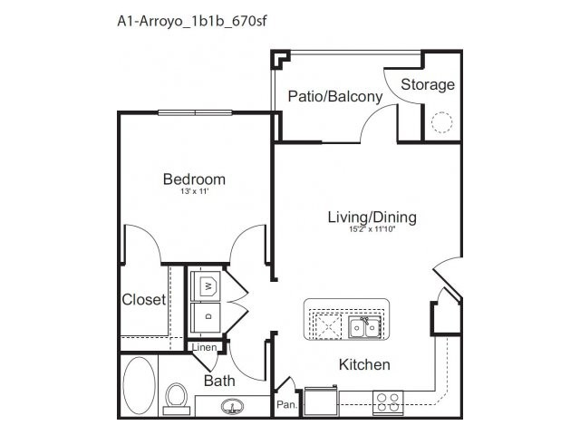 670 sq. ft. Arroyo floor plan
