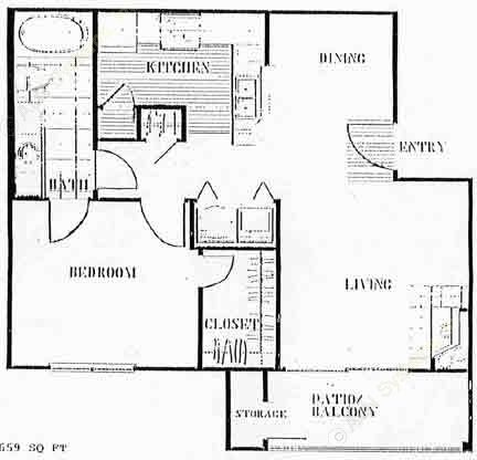 659 sq. ft. to 739 sq. ft. A floor plan